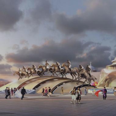 内蒙古少数民族群众文化体育运动中心西侧广场主题雕塑.png