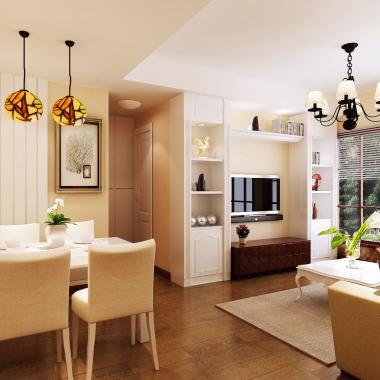 套内70平三居美式风公寓房 清新温暖